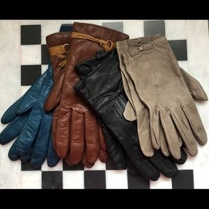 4 Pair Italian Leather/Cashmere & Coach Gloves